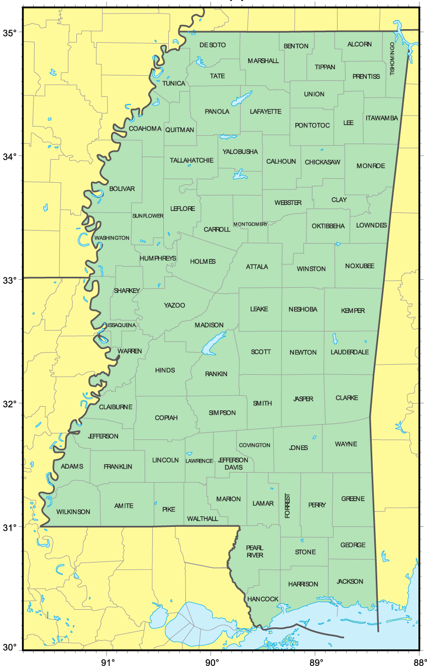 This is an image of Gratifying Printable Map of Mississippi