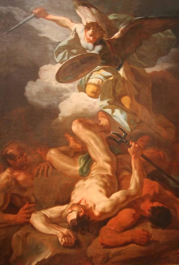Saint Michael the Archangel casts Satan down