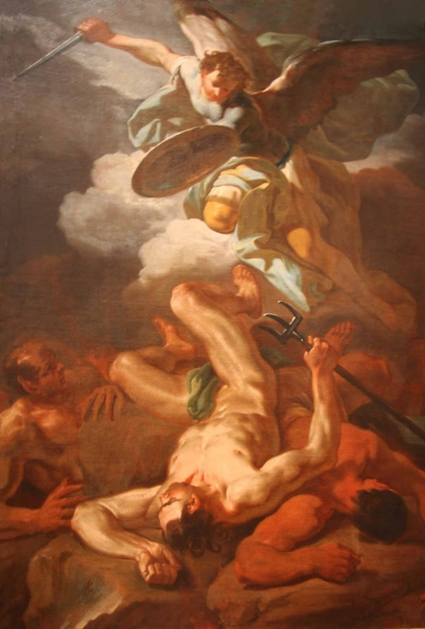 Saint Michael the Archangel casts Satan down