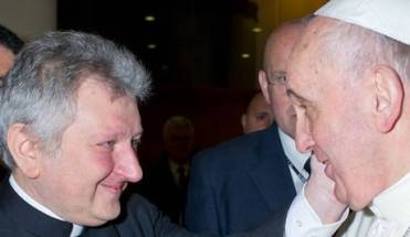 Here, Monsignor Ricca is seen expressing in tangible way his appreciation to the Bishop of Rome.