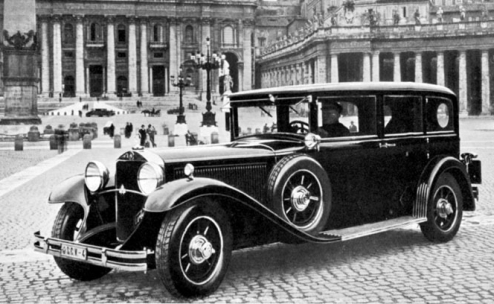 Mercedes Nuerburg 1930. Custom buit for Pope Pius XI. Donated by Mercedes.