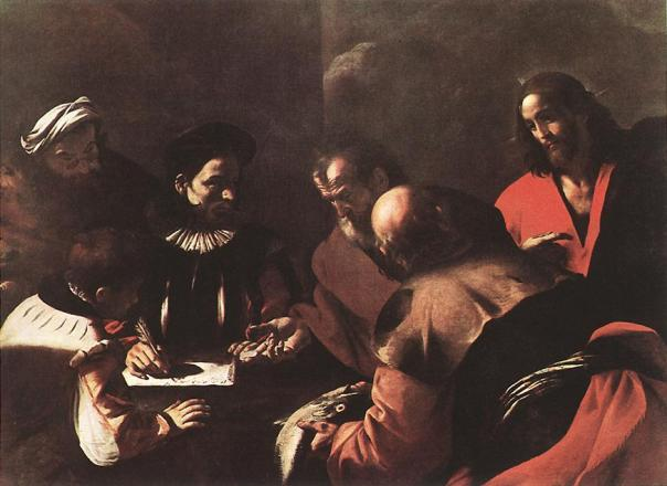 Judas receiving the thirty pieces of silver as seen by Mattia Preti, ca 1640.