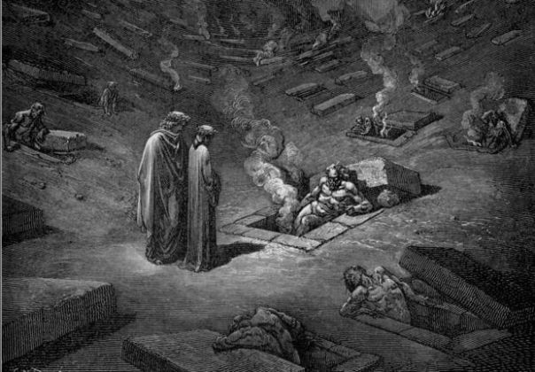 Gustave Dore': Dante and Virgilio among the heretics.